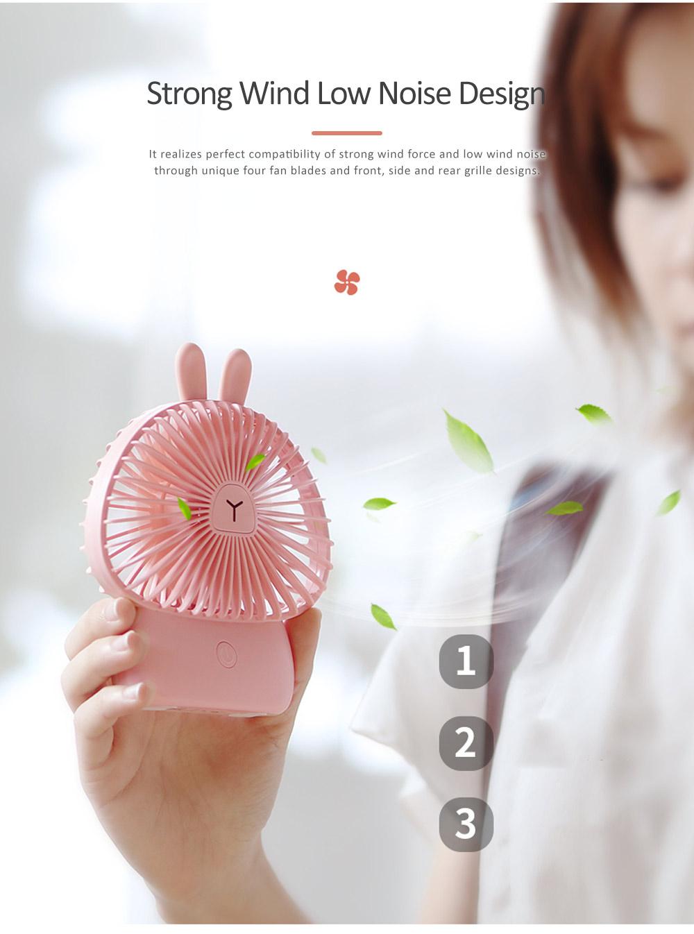 Cute Rechargeable Handheld Fan for Teenager Girls, USB Portable Handheld Mini Noiseless Fan, Desktop Mini Fan 3
