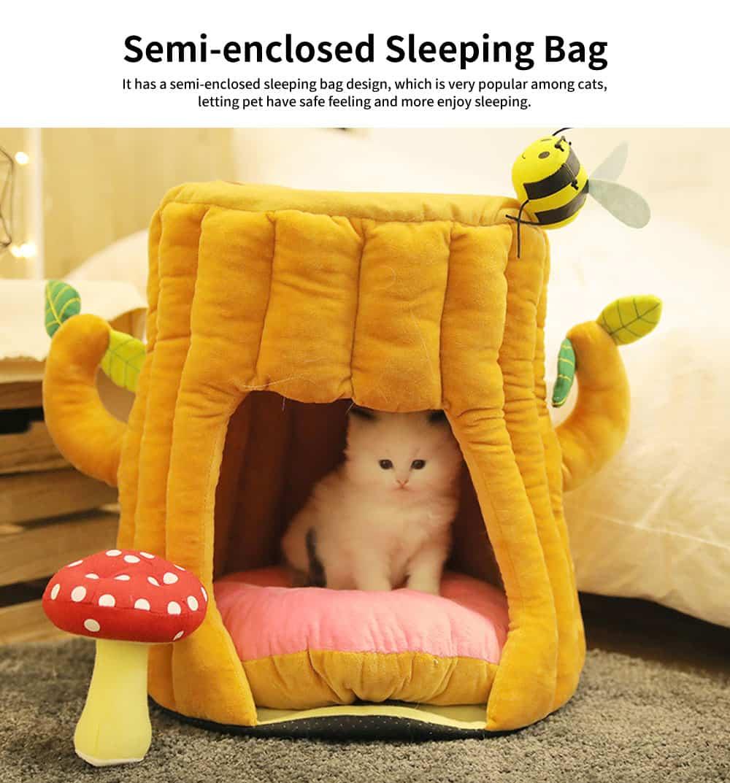 Warm PP Cotton Cat Nest, Tree-stump Shape Pet Nest, with Semi-enclosed Sleeping Bag Design 3