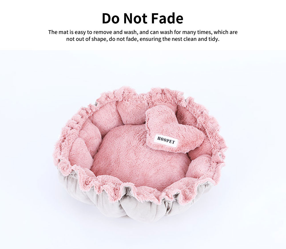 Beautiful Flower Shape Cat Nest, Selected Fluff Pink Round Fluff Nest, with Drawstring Beam Design 1