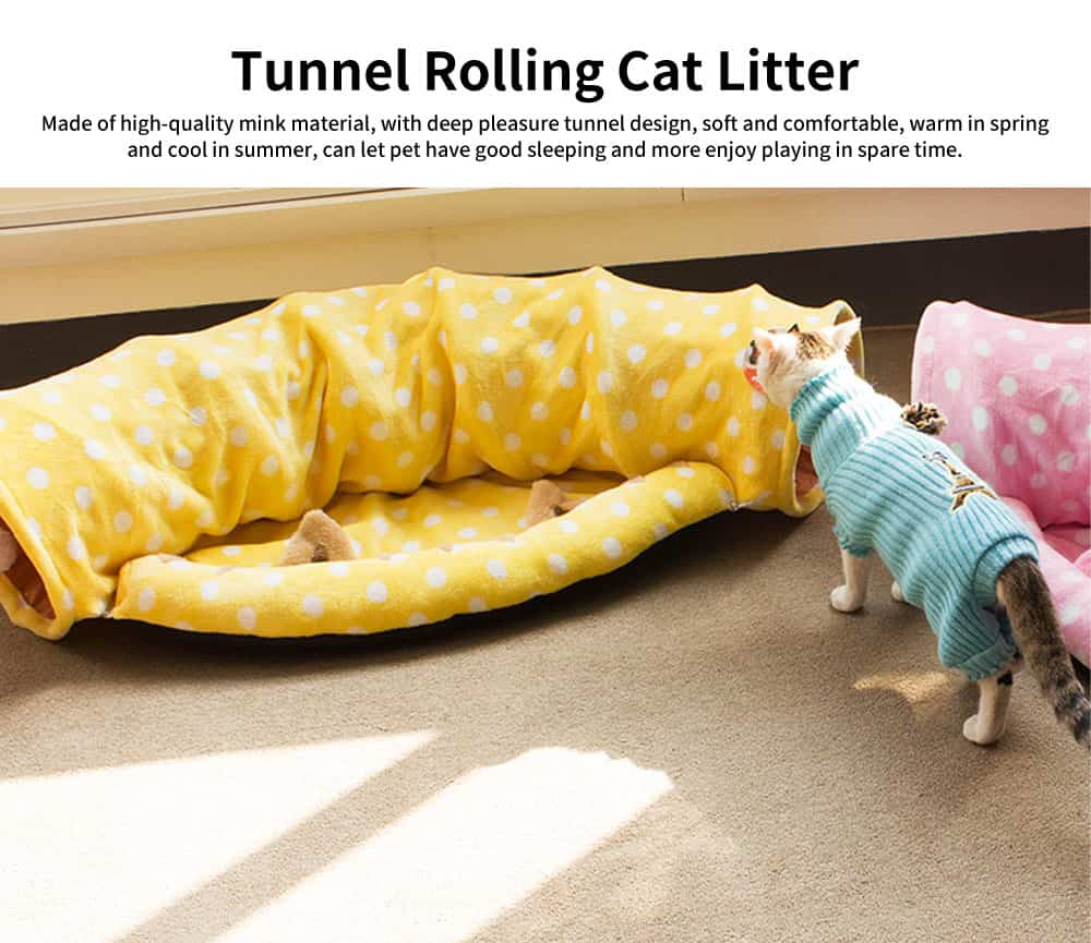 Foldable Warm Cat Drill Hole Channel Pet Nest, Sweet Color and Lovely Model Deep Pleasure Tunnel Cat Litter 0