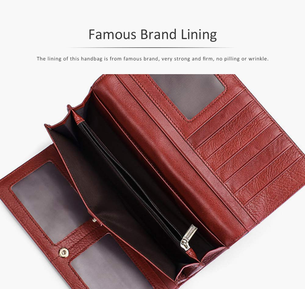 Brown Genuine Leather Long Clutch Oxhide 3 Folds Buckle Long Clutch Women Card Holder Business Purse 6