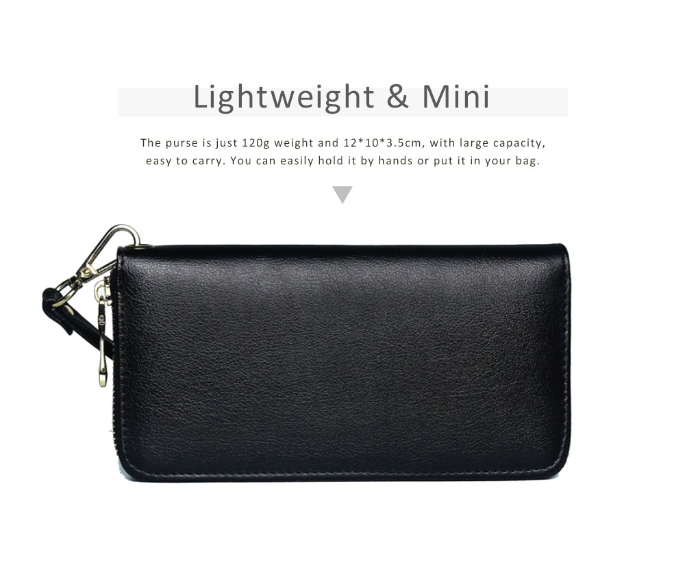 Soft Genuine Leather Purse with Multiple Card Slots, Mini Clutch Zipper Purse Oxhide Buckle Short Clutch Card Holder for Women 5