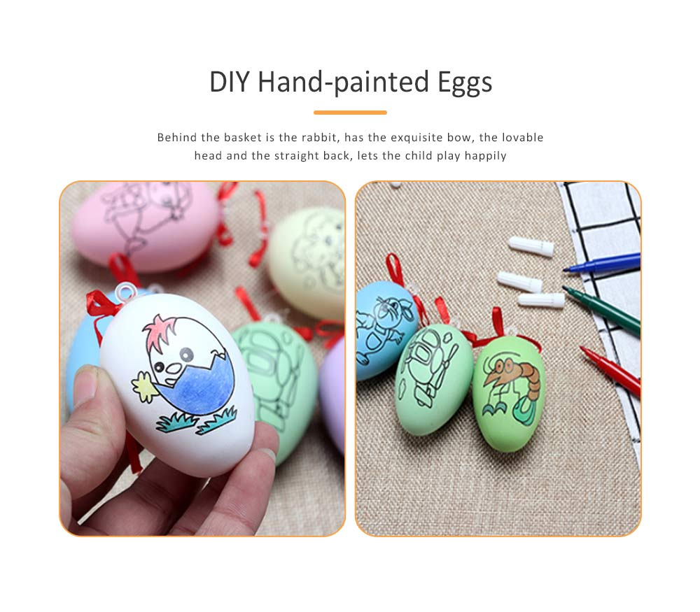 Easter Eggs Imitation Plastic Children Creative Puzzle Play Toys, DIY White Blank with Rope as a Pendant 1