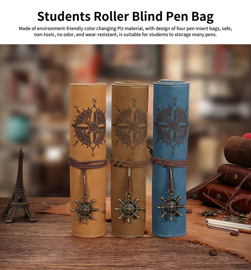 Creative Roller Blind Pen Bag for Middle School Students, Male Personality Multi-Function Pencil Case 0