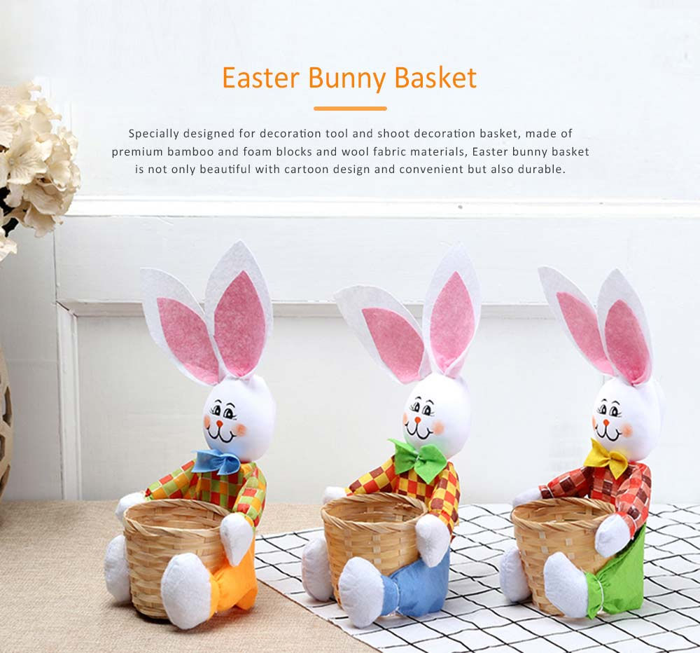 Easter Bunny DIY Handmade Basket, Bamboo Woven Rattan Weaving Basket with Cartoon Design for Storage 0
