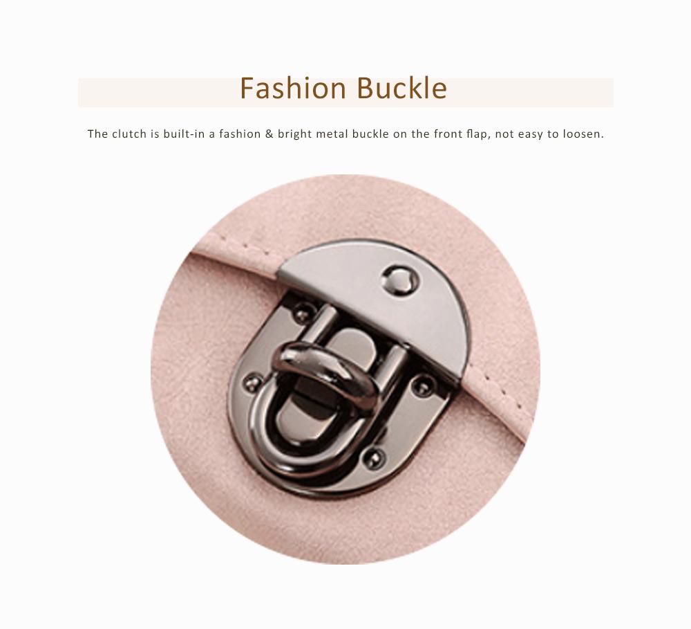 Long Clutch Women Creases Purse, Matte PU Leather Buckle Card Holder Elegant Flip-type Clutch Bag 6
