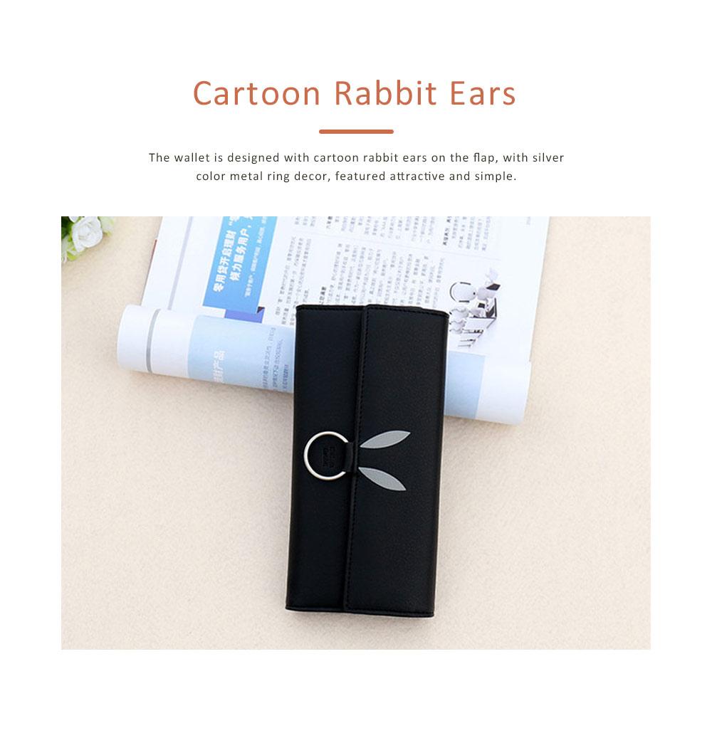 Rabbit Ears Ring Long Purse for Women, Hard PU Leather Macaron Color Buckle Card Holder Long Clutch Elegant Flap Purse 1