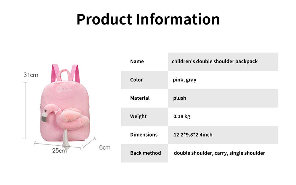 Flamingo Cute Cartoon Unicorn Children's Schoolbag, Practice Detachable Plush Kindergarten Backpack 6