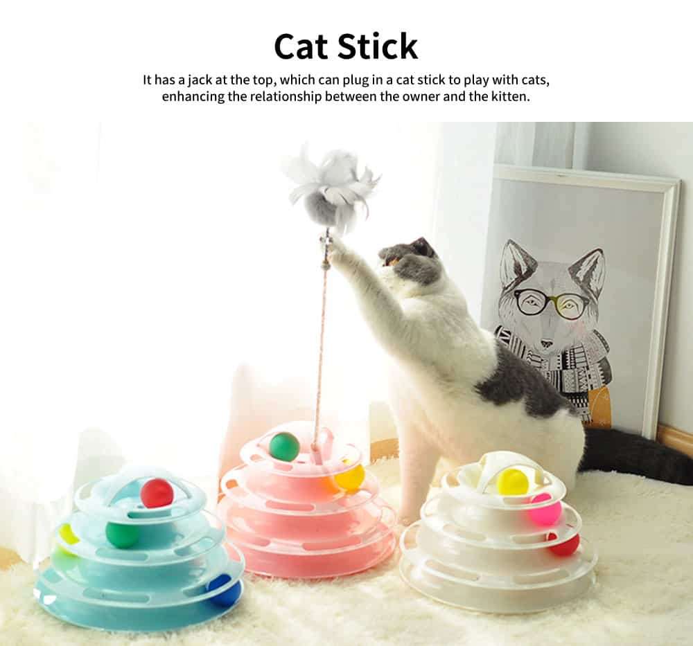 Built-in Multi-color Ball Cat Toy, Environment-friendly PP Material Pet Toy, with Non-slip Pads At the Bottom 1