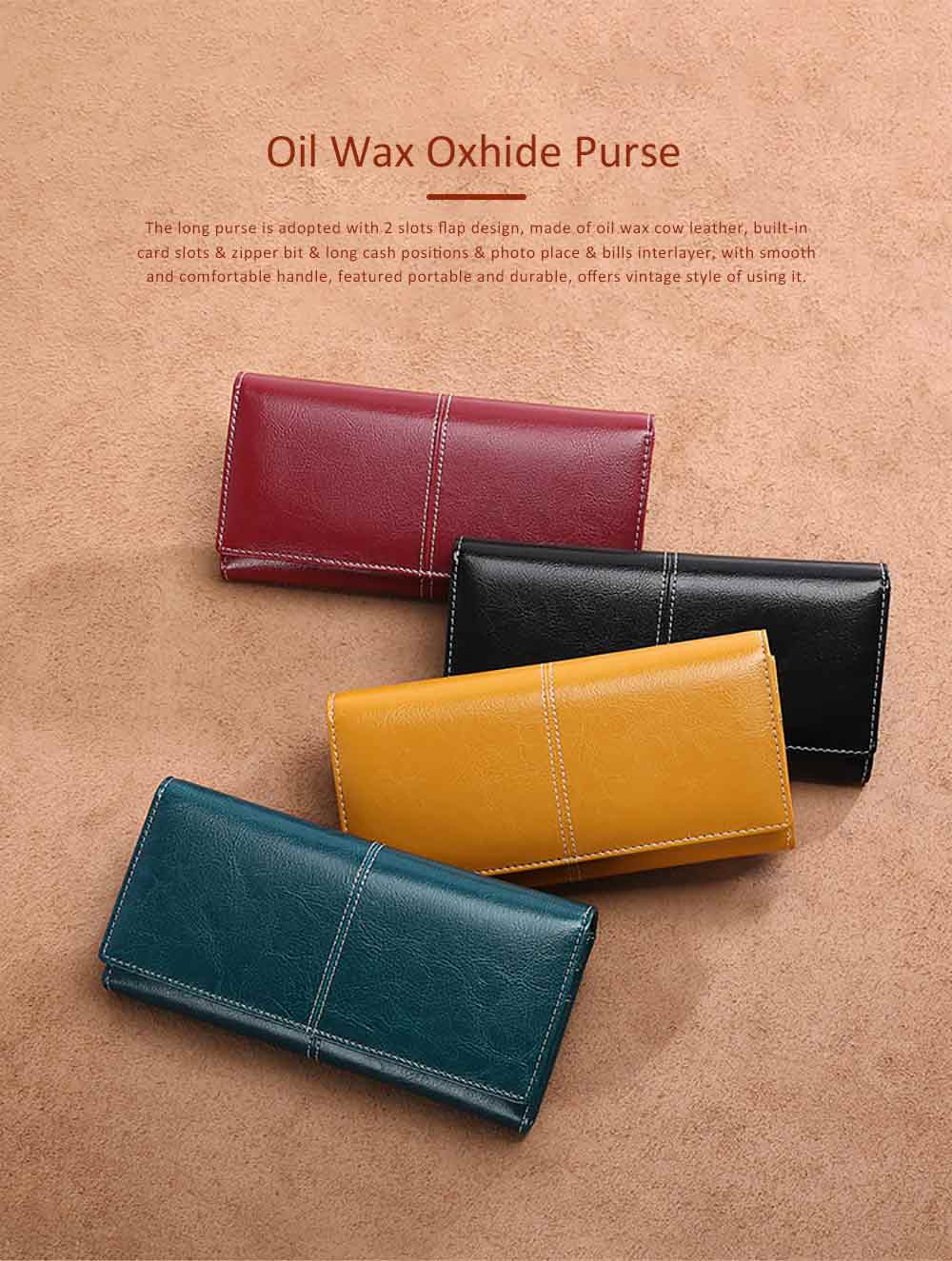 Oil Wax Oxhide Clutch with 2 Card Slots, Large Capacity Cow Leather Changes Purse, Casual Clutch Phone Holder Lady Bag 0