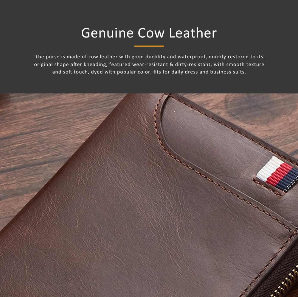 Genuine Leather Business Purse Short Clutch Bag Oxhide Zipper Mini purse Unisex Handbag Card Holder 2