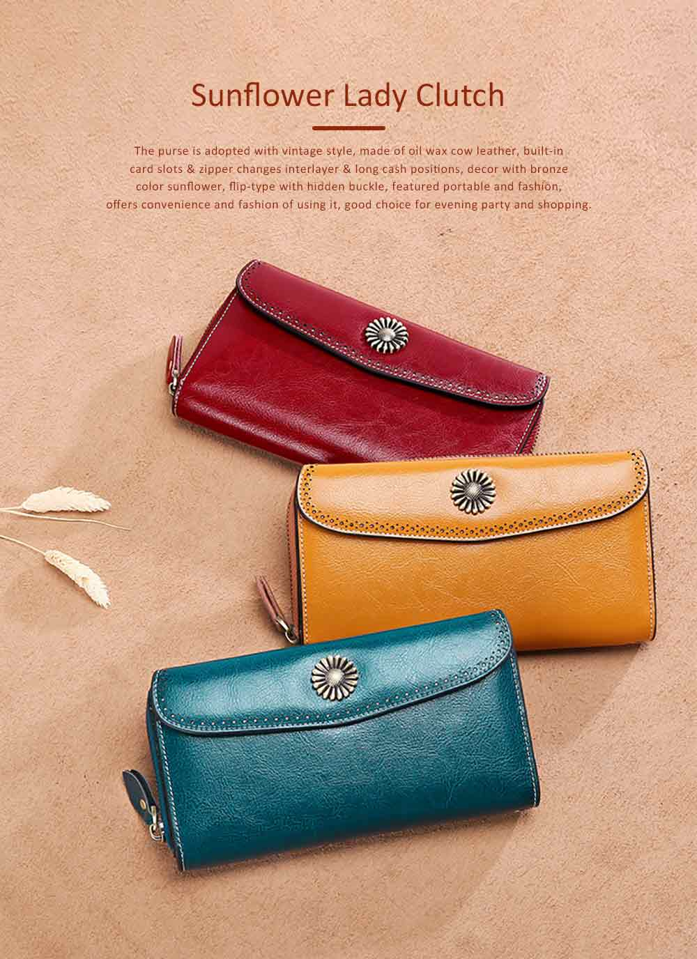 Classical Sunflower Lady Clutch, Genuine Leather Flip-type Purse with Card Holder, Mini Purse Long Clutch Bag Women Accessories 0