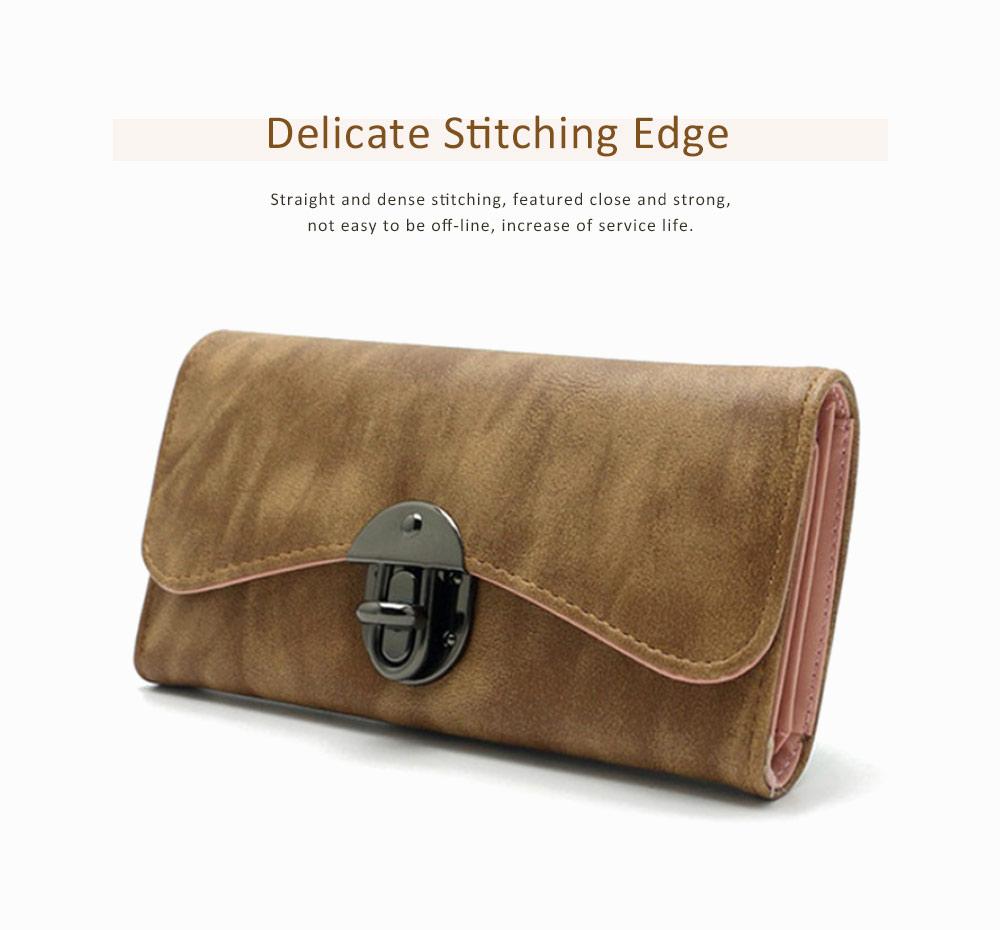 Long Clutch Women Creases Purse, Matte PU Leather Buckle Card Holder Elegant Flip-type Clutch Bag 4