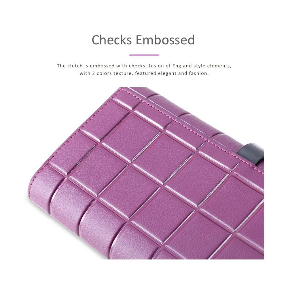 Genuine Leather Portable Purse Long Clutch Flap Bag, Oxhide 3 Folds Buckle Long Wallet Women Handbag Embossed Checks Card Holder 1