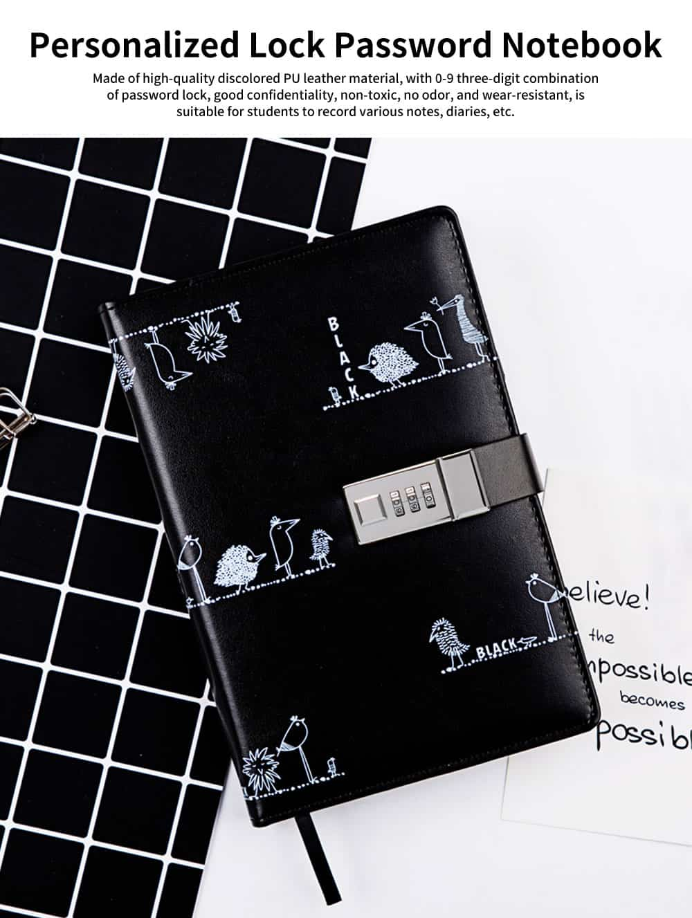 Personalized Lock Adult Password Notebook, Thick Multi-function Notebook, with Hardware Combination Lock 0