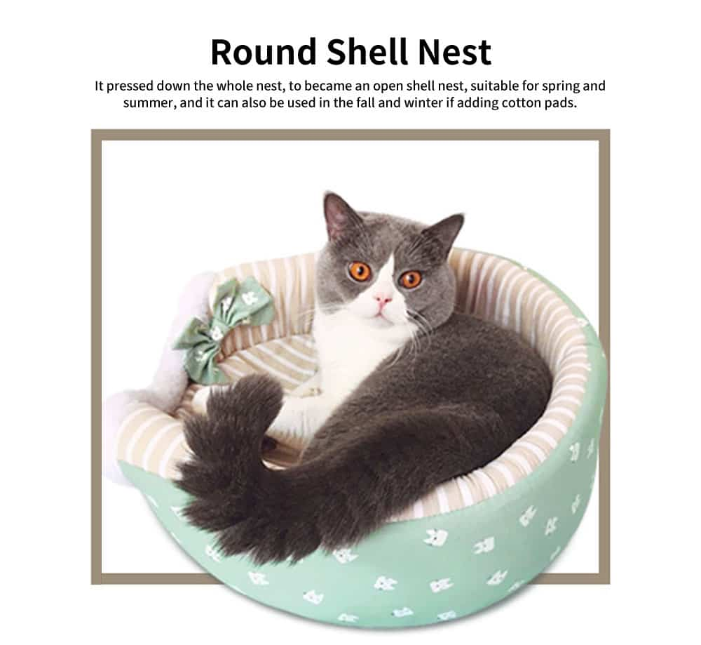 Round Shell Nest Pet Bed with Double-sided Cushion, Reactive Printing and Dyeing Fabric Cat Litter 3