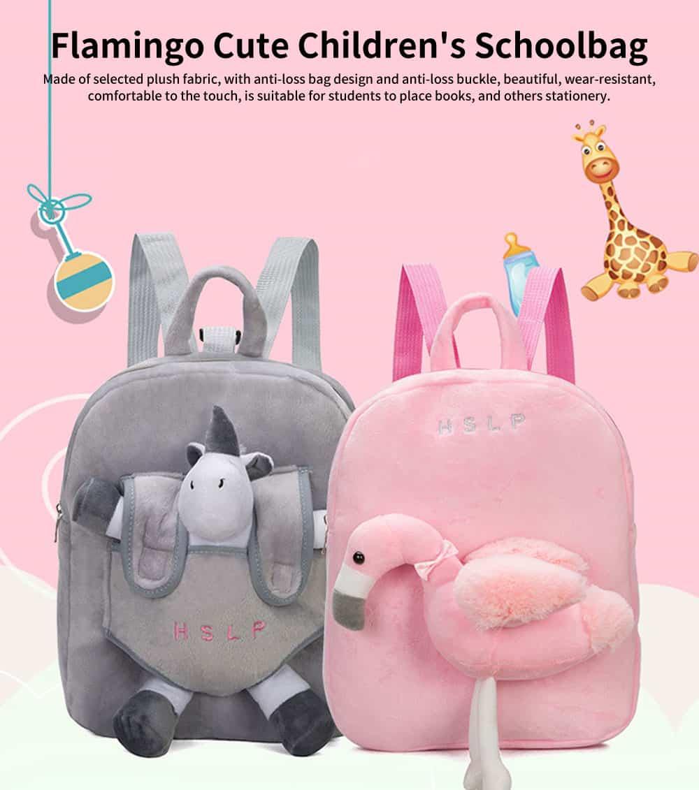 Flamingo Cute Cartoon Unicorn Children's Schoolbag, Practice Detachable Plush Kindergarten Backpack 0