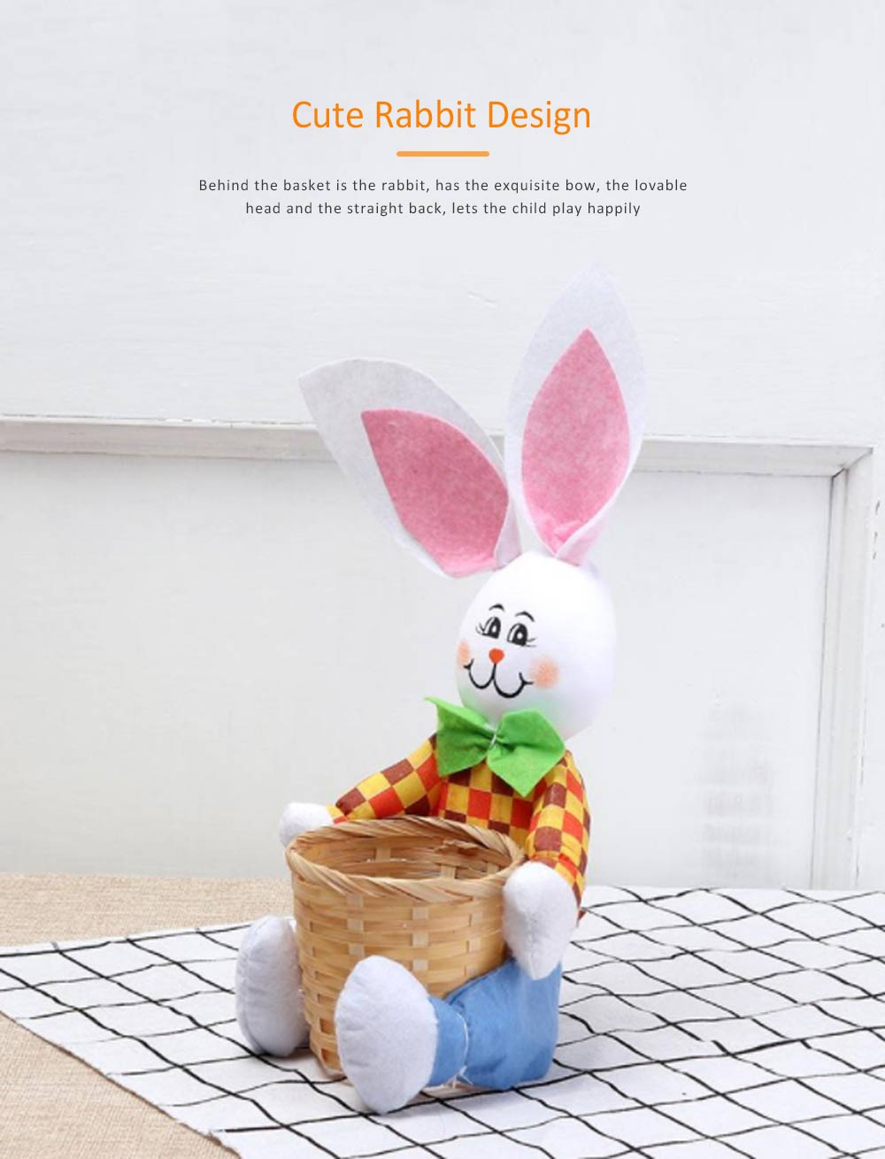 Easter Bunny DIY Handmade Basket, Bamboo Woven Rattan Weaving Basket with Cartoon Design for Storage 2