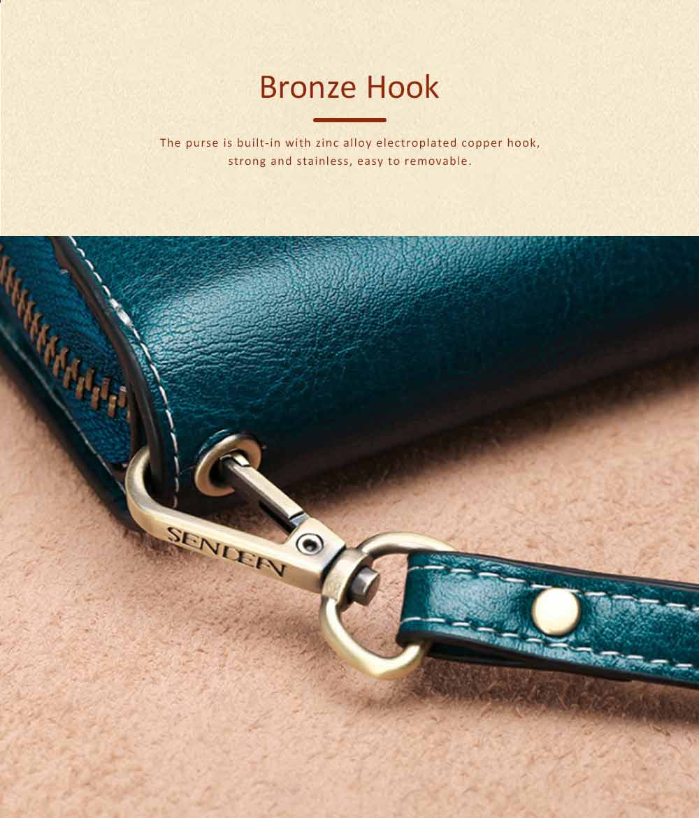 Classical Sunflower Lady Clutch, Genuine Leather Flip-type Purse with Card Holder, Mini Purse Long Clutch Bag Women Accessories 5