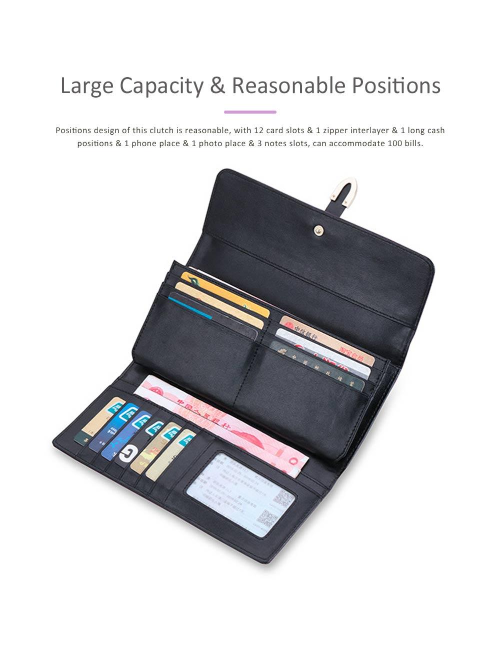 Genuine Leather Portable Purse Long Clutch Flap Bag, Oxhide 3 Folds Buckle Long Wallet Women Handbag Embossed Checks Card Holder 3