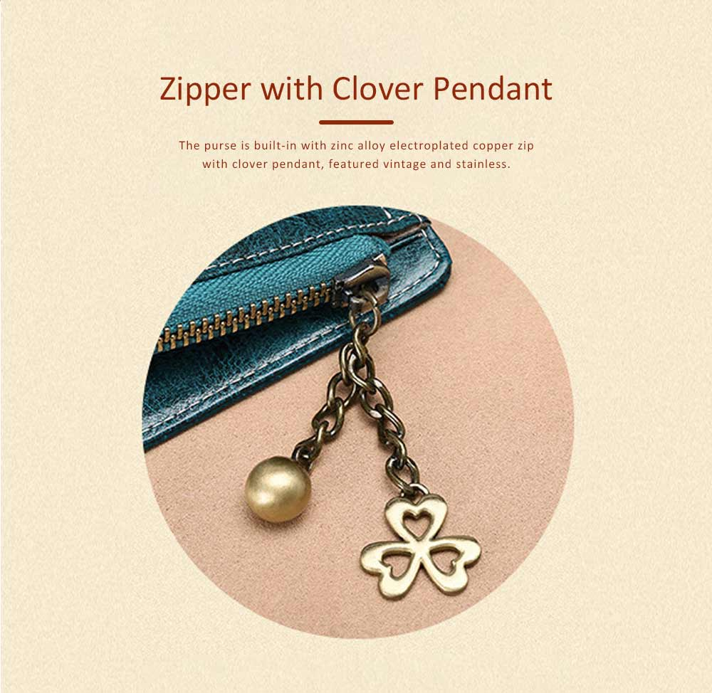 Classical Lady Purse Clover Pendant Genuine Leather Sunflower Short Mini Card Holder Clutch Bag 4