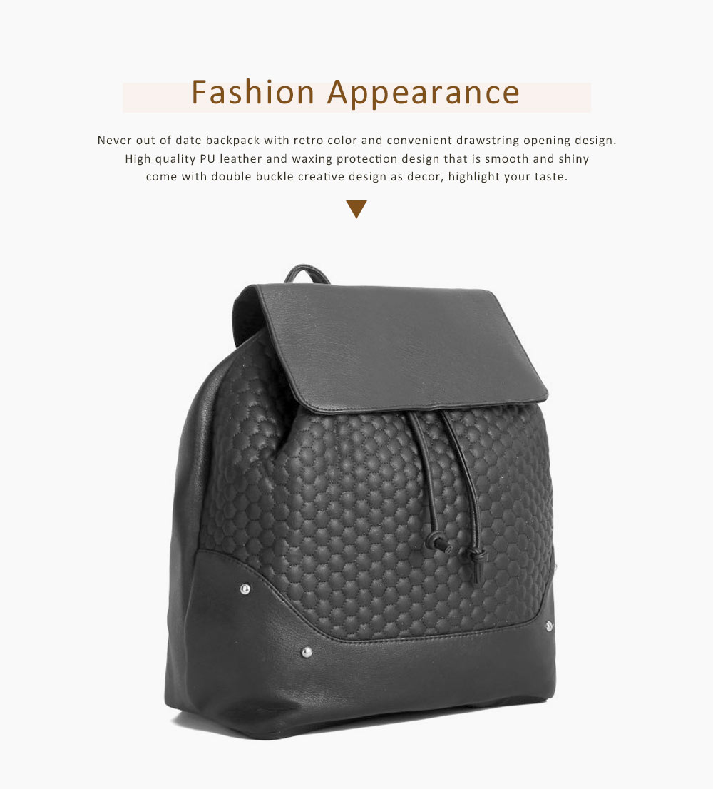 Pu Leather Vertical Square Shoulder Bag, Retro Style Women's Large Capacity Multi-functional Backpack 2