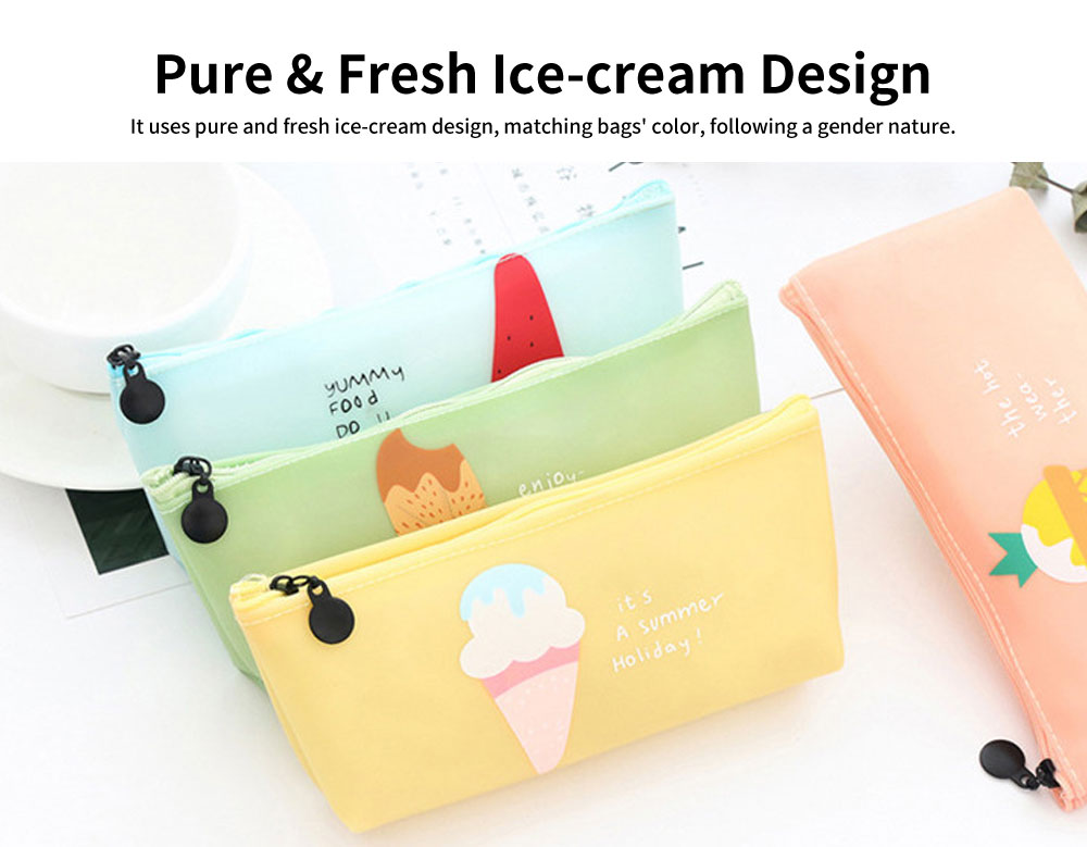 Creative Stationery Pencil Case, Jelly Gel Material Large Pencil Case, with Pure and Fresh Ice-cream Design 4