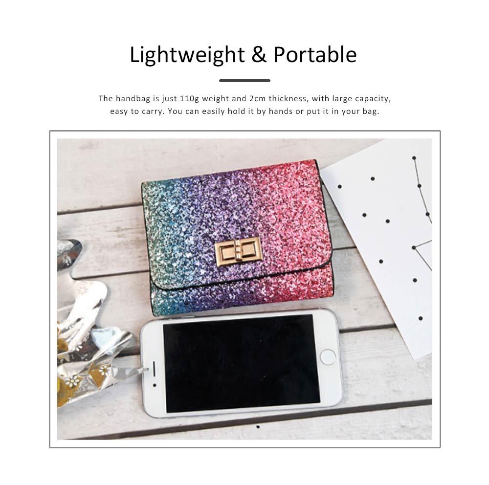 Chic Short Purse Folio Mini Handbag Sequins Colorful 3 Slots PU Leather Rainbow Clutch Bag Evening Party Accessories 5