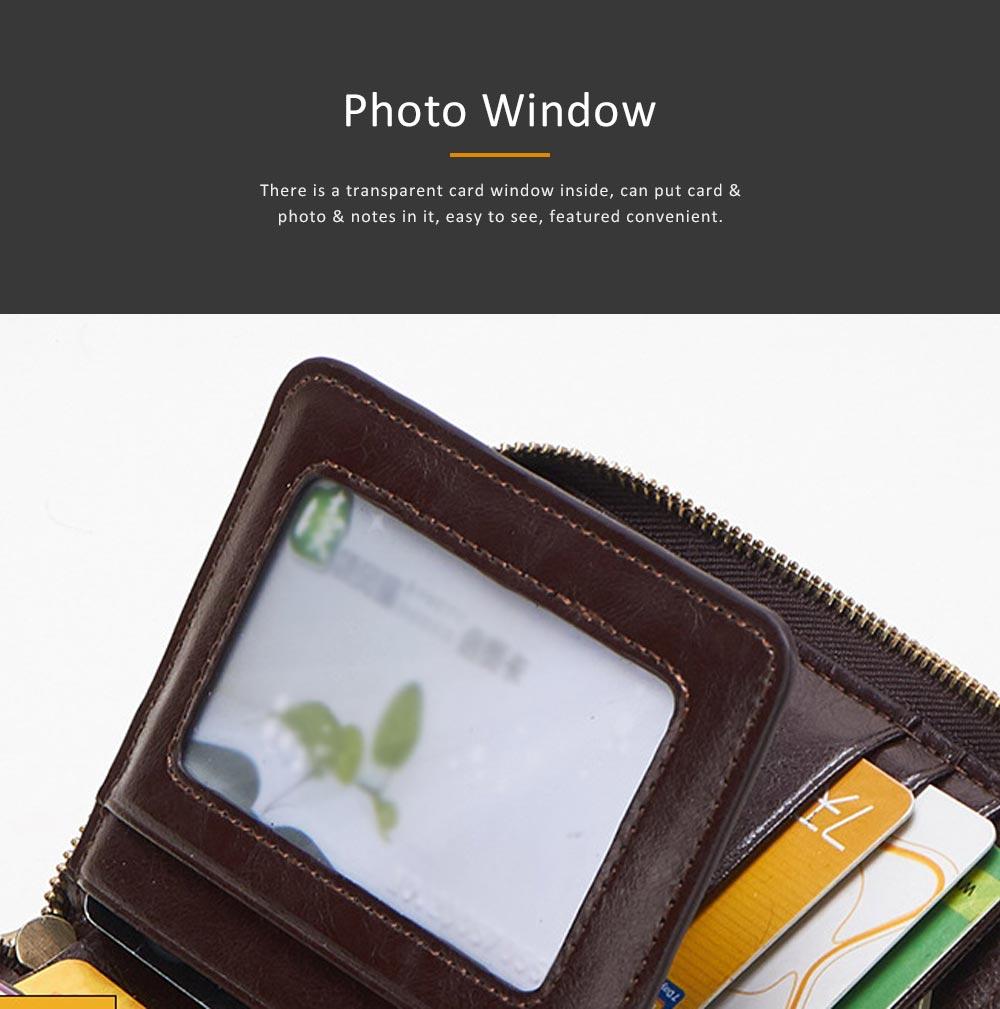 Genuine Leather Business Purse Short Clutch Bag Oxhide Zipper Mini purse Unisex Handbag Card Holder 5