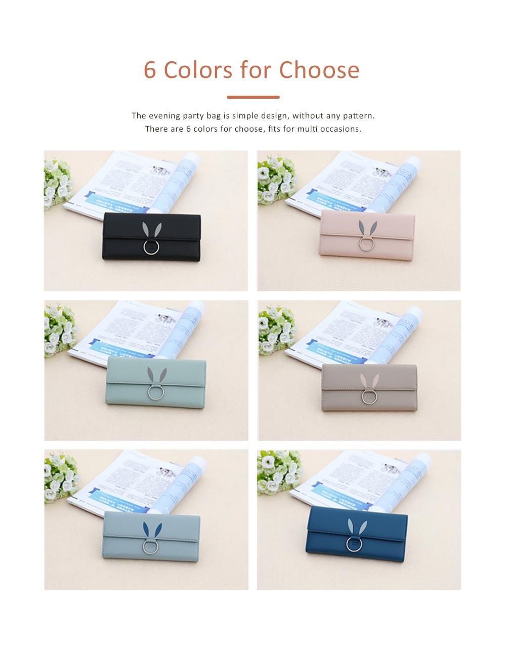 Rabbit Ears Ring Long Purse for Women, Hard PU Leather Macaron Color Buckle Card Holder Long Clutch Elegant Flap Purse 5