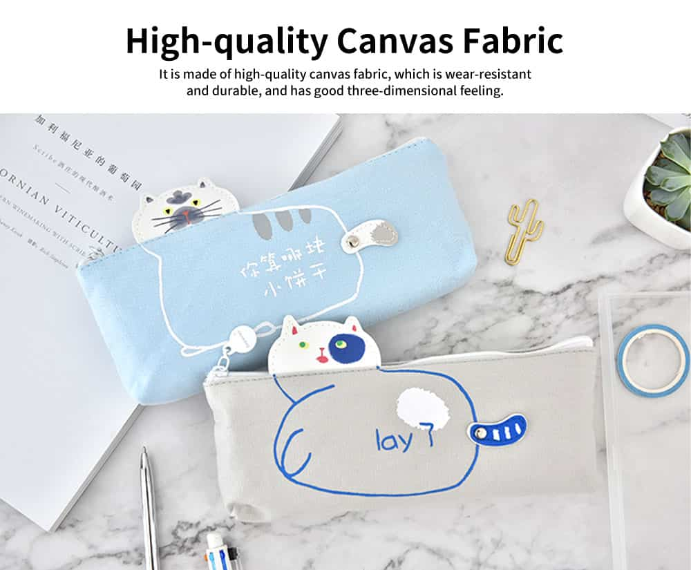 Lovely Shape Pencil Bag, High-quality Canvas Fabric Pen Case, with Smooth and Wearable Zipper 1