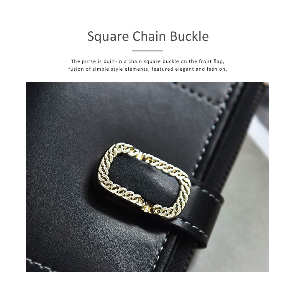 Elegant Synthetic Leather Long Clutch Bag with Buckle Belt Casual Solid Women Purse 1