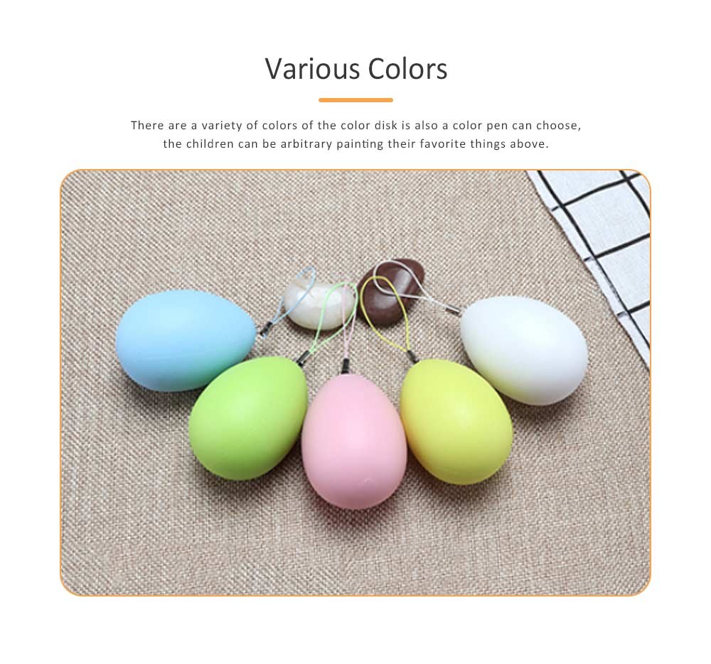 Easter Eggs Imitation Plastic Children Creative Puzzle Play Toys, DIY White Blank with Rope as a Pendant 5