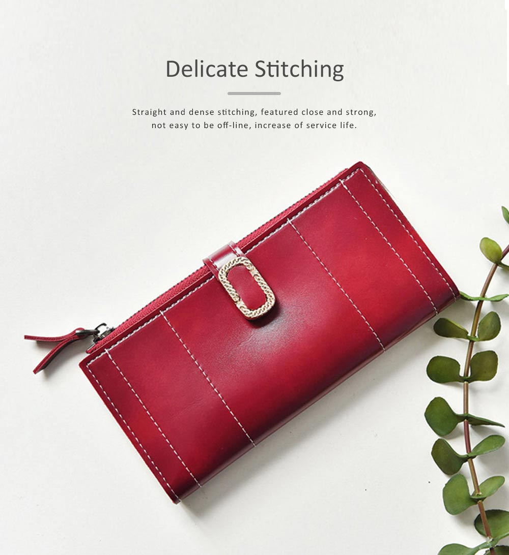 Elegant Synthetic Leather Long Clutch Bag with Buckle Belt Casual Solid Women Purse 2