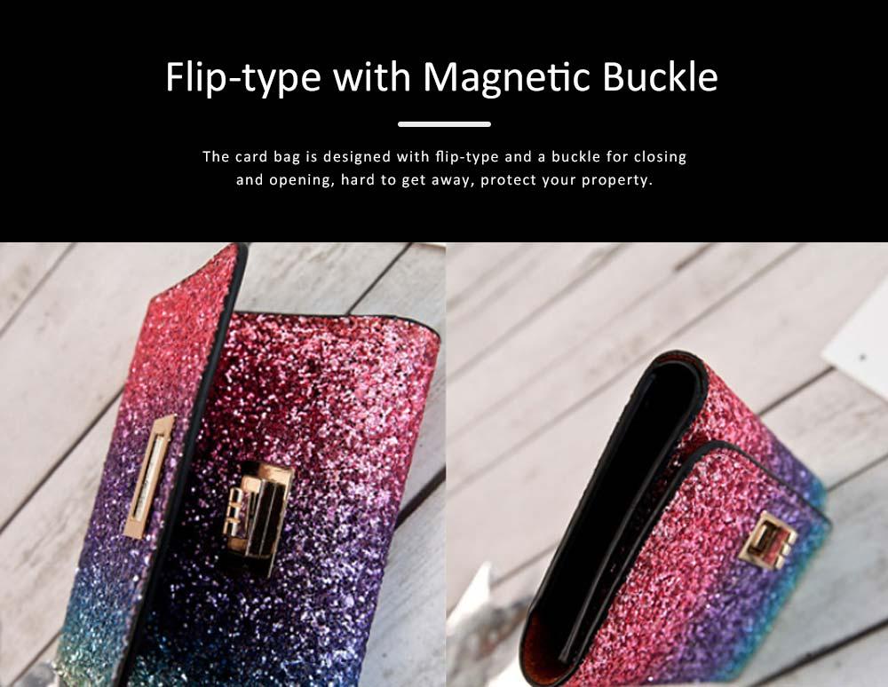 Chic Short Purse Folio Mini Handbag Sequins Colorful 3 Slots PU Leather Rainbow Clutch Bag Evening Party Accessories 2