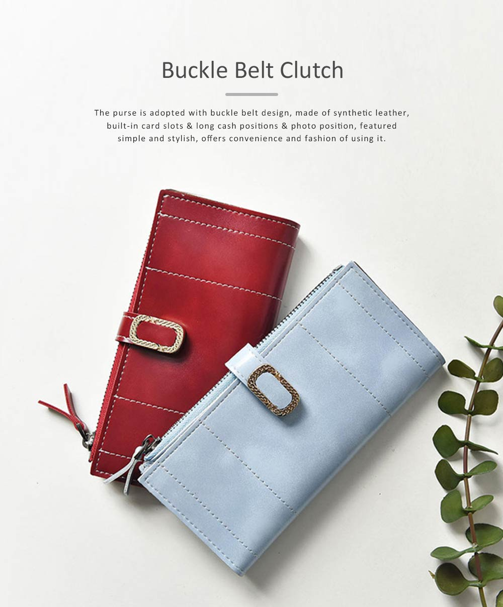 Elegant Synthetic Leather Long Clutch Bag with Buckle Belt Casual Solid Women Purse 0