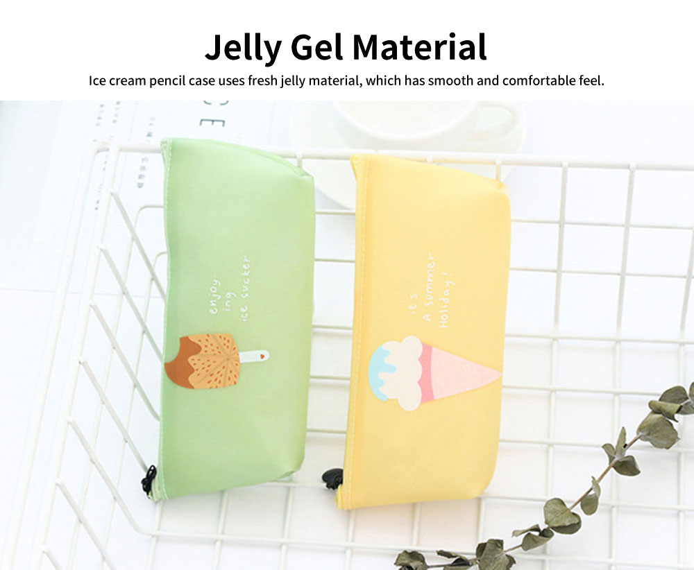Creative Stationery Pencil Case, Jelly Gel Material Large Pencil Case, with Pure and Fresh Ice-cream Design 2