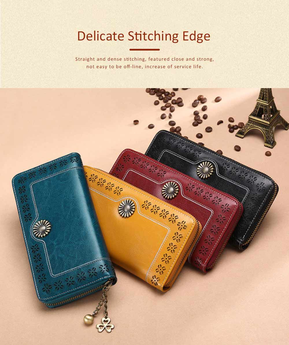 Classical Hollow-out Sunflower Lady Clutch, Genuine Leather Zipper Clutch Pendant Card Holder Purse Long Clutch Bag 6
