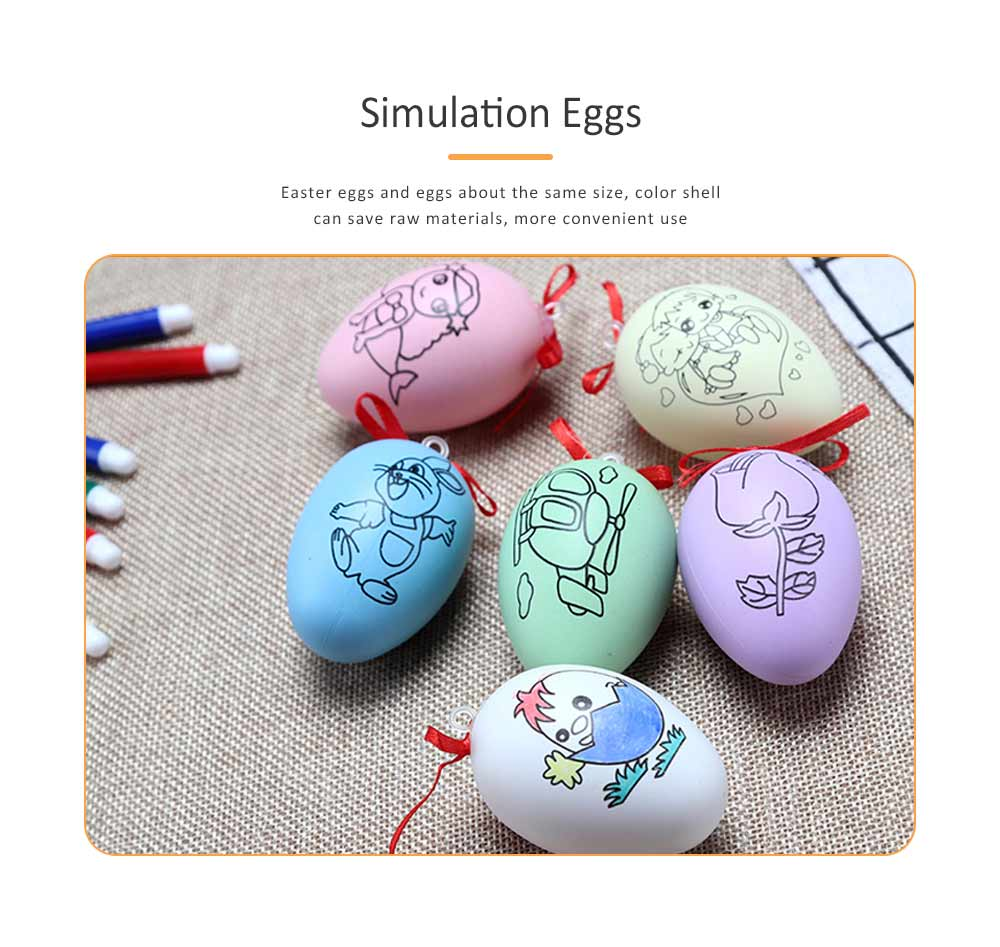 Easter Eggs Imitation Plastic Children Creative Puzzle Play Toys, DIY White Blank with Rope as a Pendant 3