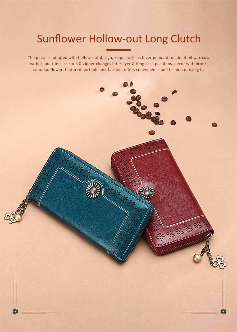 Classical Hollow-out Sunflower Lady Clutch, Genuine Leather Zipper Clutch Pendant Card Holder Purse Long Clutch Bag 0