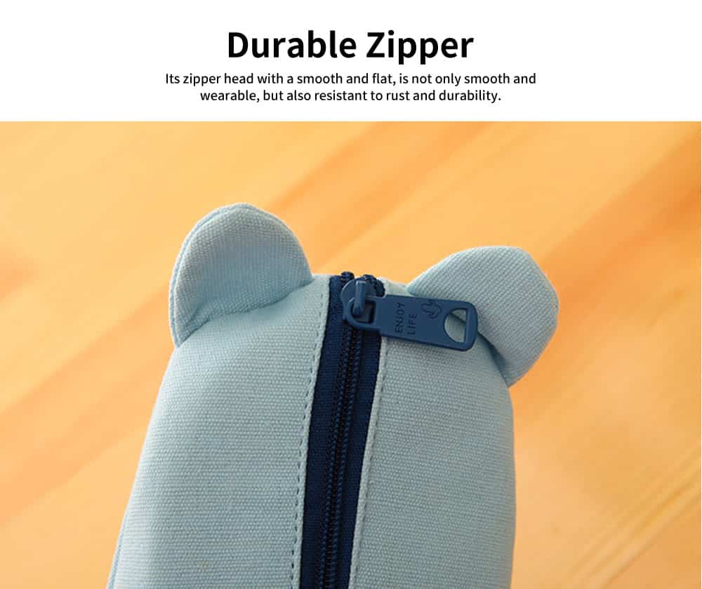 Girl Simple Cute Pen Case, High-quality Denim Fabric Students' Pencil Bag with Lining Inside the Pocket 5