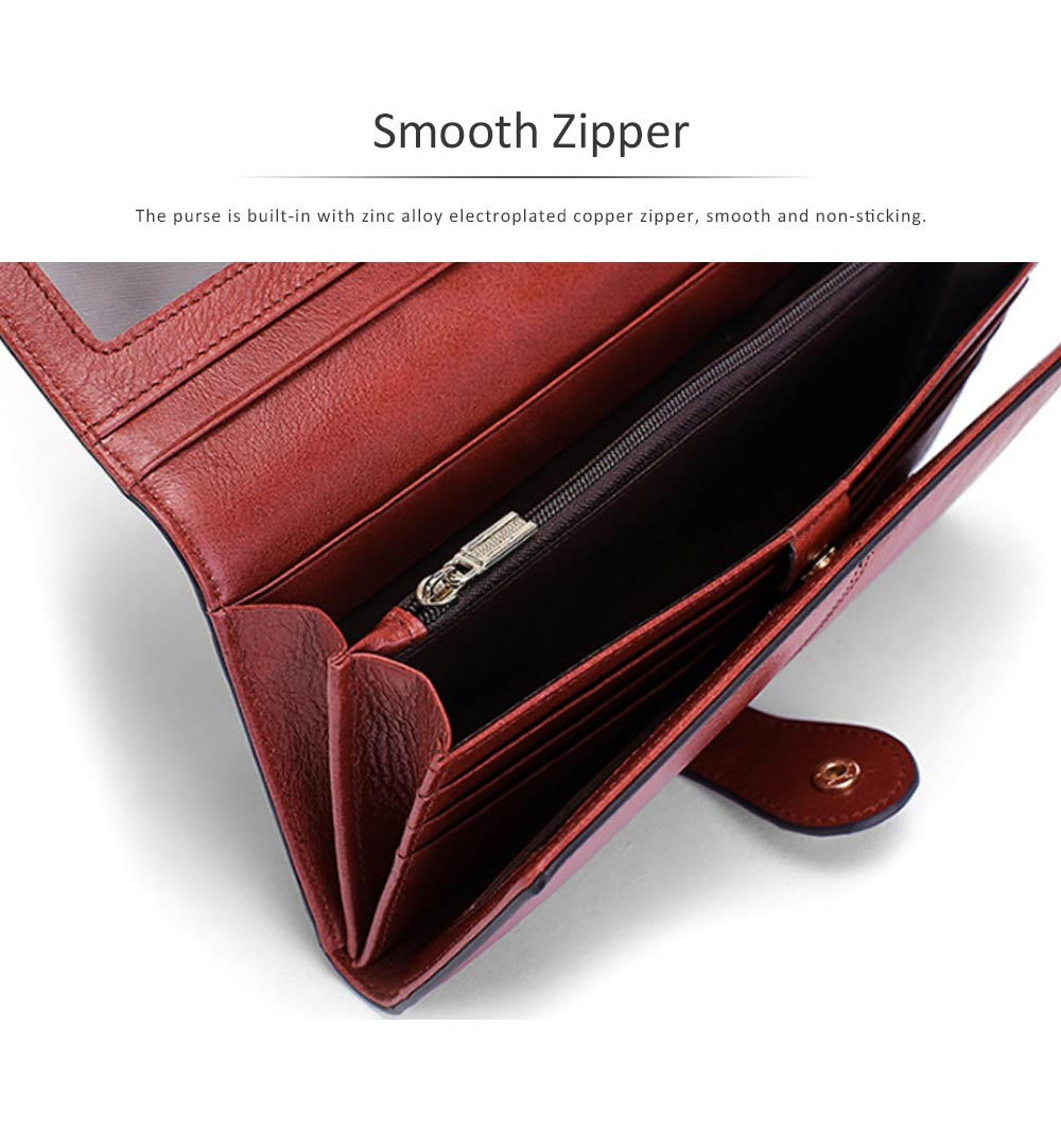 Brown Genuine Leather Long Clutch Oxhide 3 Folds Buckle Long Clutch Women Card Holder Business Purse 5
