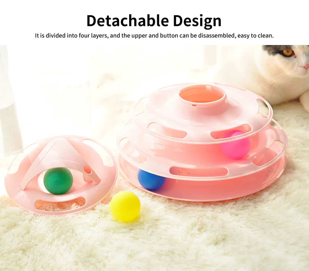 Built-in Multi-color Ball Cat Toy, Environment-friendly PP Material Pet Toy, with Non-slip Pads At the Bottom 2