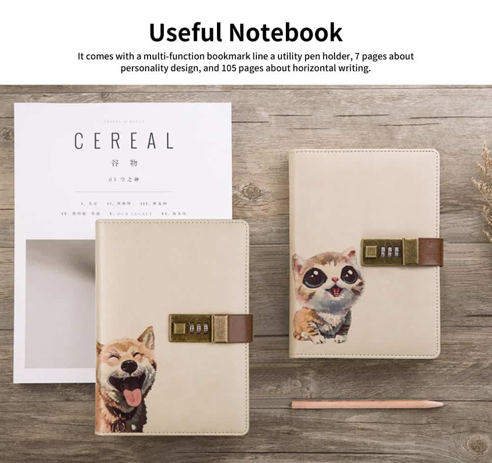 Creative B6 Wired Password Notebook, Simple and Versatile Lock Notebook, with Discolored PU Leather 4