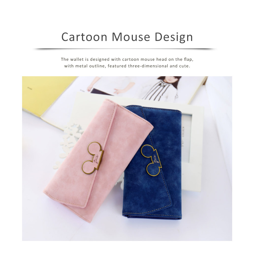 Long Clutch with Cartoon Mouse, Women Handbag Matte PU Leather Buckle Card Holder Portable Purse Flap Bag 1