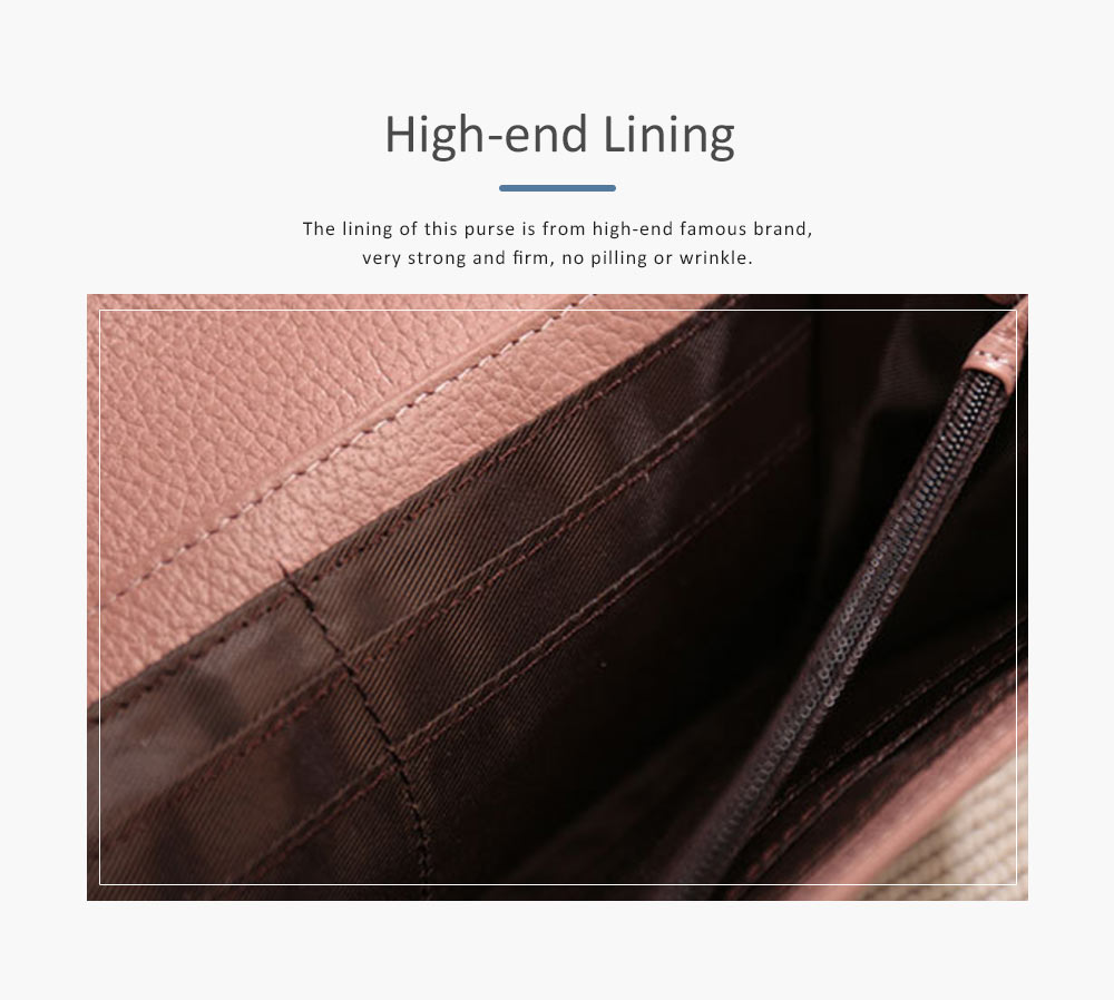 Elegant Purse with V Texture Embossed, Genuine Cow Leather Long Clutch Bag Casual Solid Women Purse 6