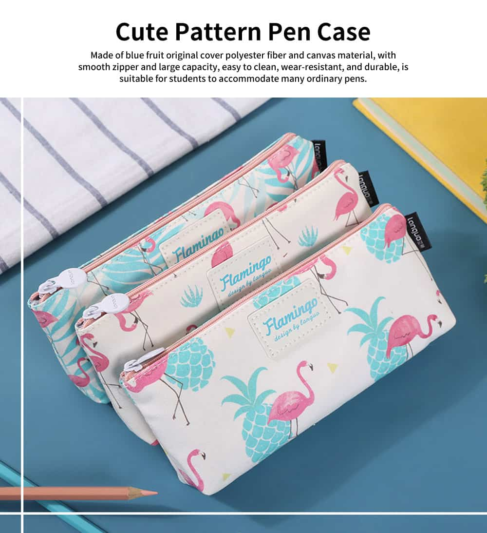 Blue Fruit Original Cover Pencil Bag, Cute Pattern Polyester Fiber and Canvas Pen Case with Large Capacity 0