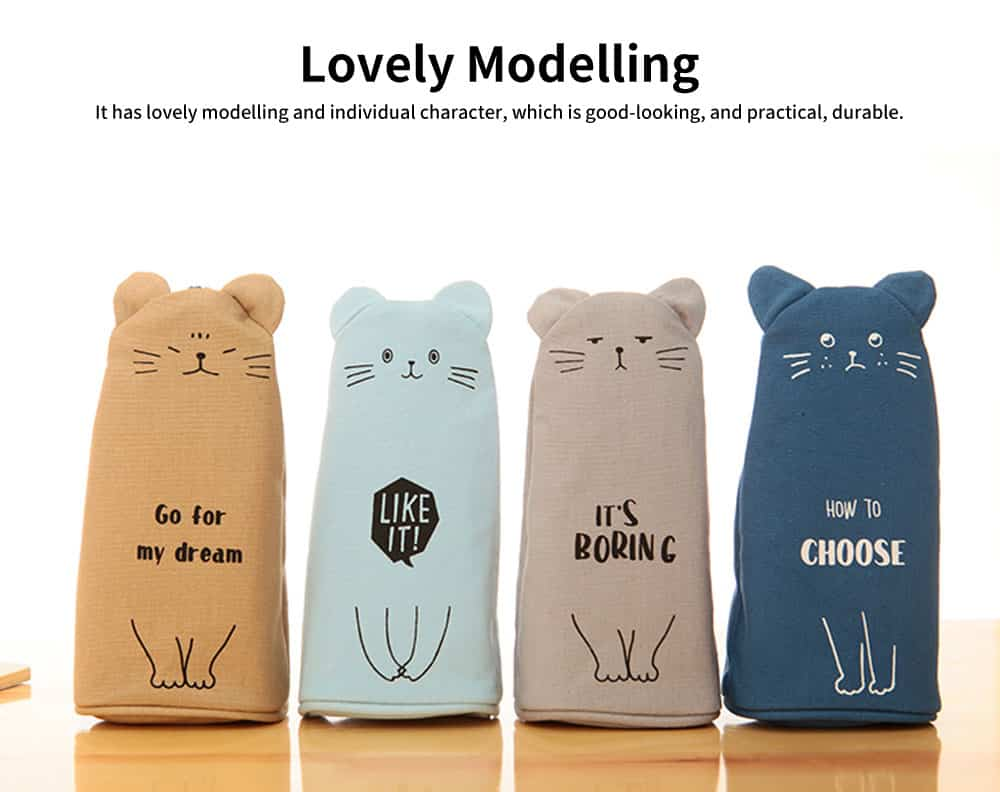 Girl Simple Cute Pen Case, High-quality Denim Fabric Students' Pencil Bag with Lining Inside the Pocket 3