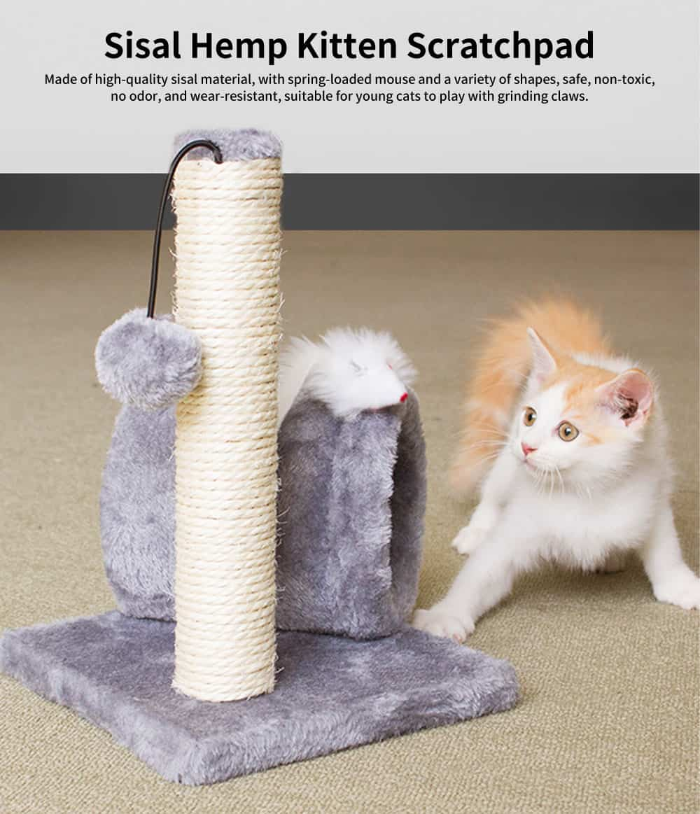 Sisal Hemp Kitten Scratchpad, Variety of Shapes Pet scratchpad, with Spring-loaded Mouse 0