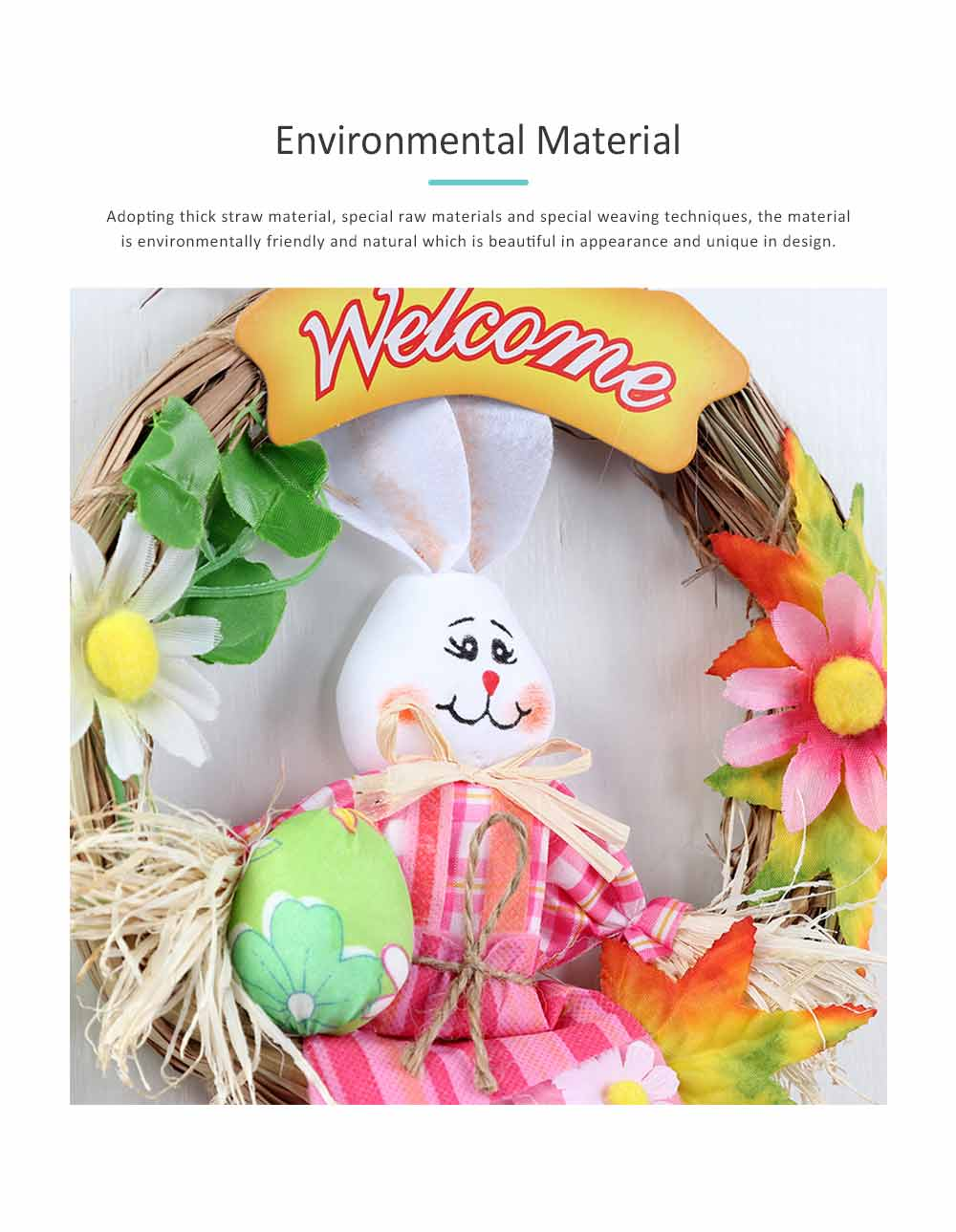 Easter Scarecrow Wreath with Rabbit Design for Kids, Creative DIY Handmade Wreath 5